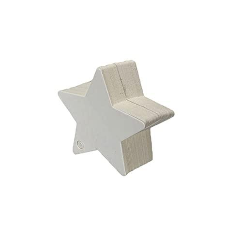 Shisheng 100 unidades de etiquetas de papel de estraza con forma de estrella, 3 colores, etiquetas de entrada para embalaje, artesanía, casa, fiesta, boda, decoración