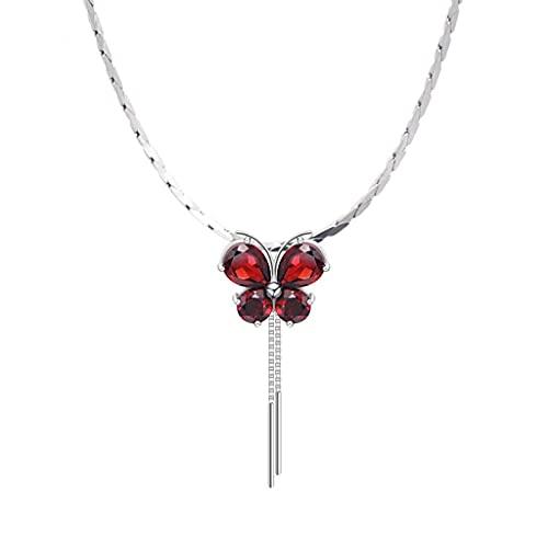 CEXTT Collares de guapos para Mujeres niñas Collar de Mariposa Granate Colgante de Mujer Collar Mariposa Cadena de clavícula, Regalos para Mujeres Madre cumpleaños Gargantilla Collares