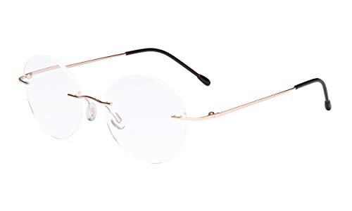 Eyekepper Randlose Brillen Damen - Runde Randlose Brillen Herren Gold +2.00