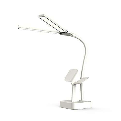 Dos cabeza super brillante DIRIGIÓ Lámpara de escritorio para la lectura de la oficina USB RECARGABLE DIMMABLE 3 luces de la mesa de la mesa de la cama adajustable (Body Color : White)