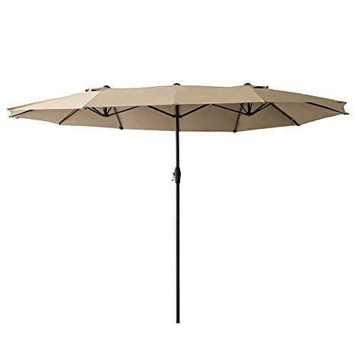 Ombrellone da giardino ovale - 400 x 200 cm, apertura e chiusura facile con manovella, pieghevole, protegge dai raggi UV, in tela di poliestere ad alta densità, opaco, per giardino e terrazzo, beige