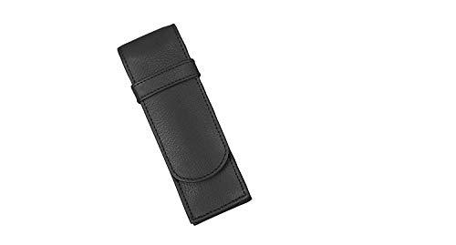 Alassio 2668 - Schreibgeräteetui aus echtem Leder, Etui in schwarz, Stiftetui ca. 14 x 4,5 x 2 cm, Lederetui für 2 Stifte