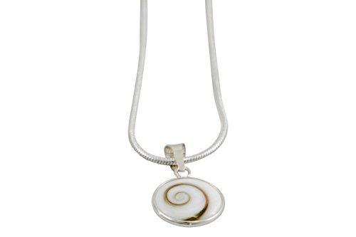 Vurmashop Collar Ojo de Shiva - Collar Piedra Santa Lucía Concha Natural - Collar Colgante Ojo de Santa Lucía de Plata 925 con Cadena de Plata
