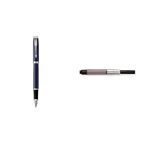 PARKER IM, pluma estilográfica azul mate, con plumín mediano y recambio de tinta azul (1931654) + Sonnet - Convertidor para la pluma Parker, negro