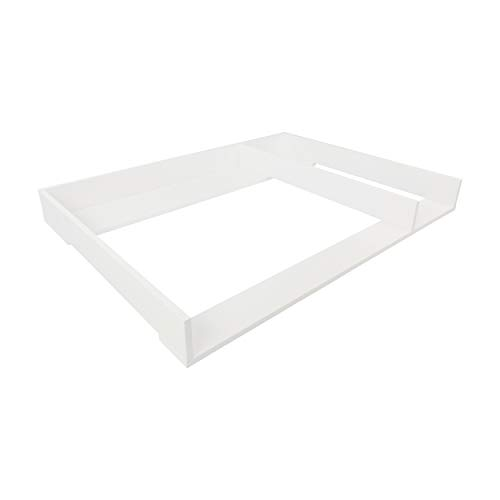 Puckdaddy XXL Wickelaufsatz Jasper – 108x80x10 cm, Wickelauflage aus Holz in Weiß, hochwertiger Wickeltischaufsatz mit Trennfach passend für IKEA Hemnes Kommoden, inkl. Wandbefestigung