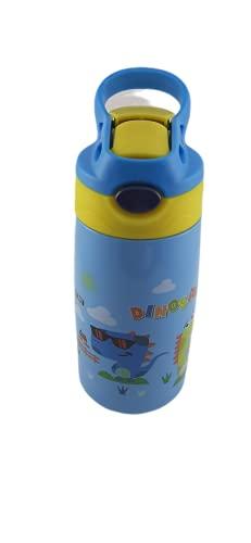 Cantimplora Infantil 500ml, Botella Deportiva para Niños Dibujo, Botella de Agua Infantil, Cantimplora Pequeña 500ml (Estandar, Dinosaurio - Celeste)