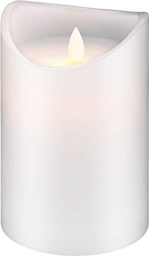 LED Echtwachs-Kerze 15cm hoch, weiß - wunderschönes und sicheres Licht für viele Bereiche wie Haus und Loggia, Büros, Schulen oder Seniorenheime