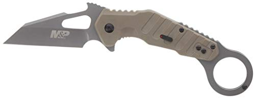 Smith & Wesson M&P Extreme Ops 7.8in S.S. Karambit Folding Knife with 3in Modified Tanto Blade with G10 Handle for Outdoor, Tactical, Survival and EDC