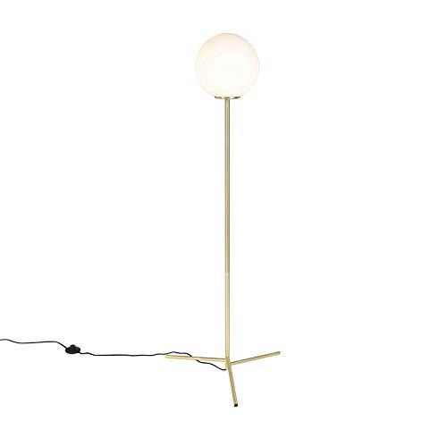 QAZQA Art Deco Art deco vloerlamp messing met melkwit glas - Pallon Glas/Staal Langwerpig/Bol Geschikt voor LED Max. 1 x 40 Watt