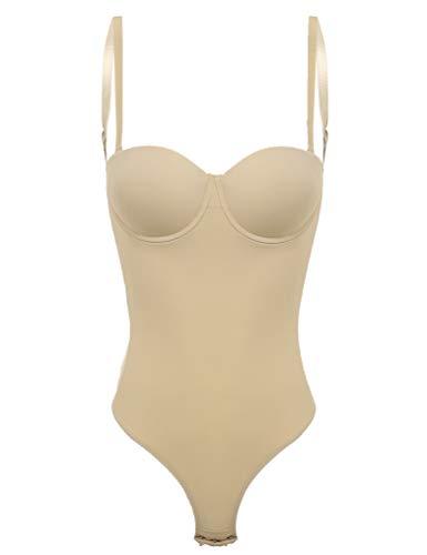 CHICTRY Damen Shapewear Figurformender Formende Body Shaper Rückenfrei Bodysuit Push Up BH Stringbody mit Haken Khaki X-Large