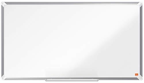 Nobo Emaille Whiteboard in Widescreen-Format, 50 x 89 cm, Aluminiumrahmen, Traditionelle Eckmontage, Inkl. Stiftablage, Premium Plus, Weiß, 1915366