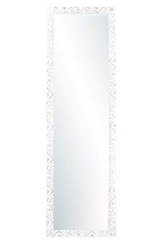 Chely Intermarket, Espejo de Pared Cuerpo Entero 35x140cm(51,50x157cm)/Blanco-Plata/Mod-144, Ideal para peluquerías, salón, Comedor, Dormitorio y oficinas. Fabricado en España. Material Madera.