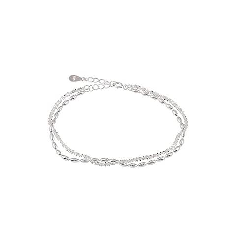Bracciale per donnaS925 Bracciale in argento sterling con chicco di riso scintillante Bracciale a doppio strato Personalità alla moda Braccialetto stellato Bracciale regolabile Hip Hop,argento