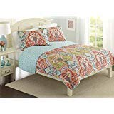 Better Homes and Gardens Quilt Collection, Jeweled Damask (King, Orange)