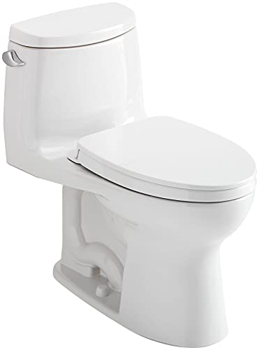 TOTO UltraMax II One-Piece Elongated 1.28 GPF Universal Height Toilet with CEFIONTECT and SS124 SoftClose Seat, WASHLET+ Ready, Cotton White - MS604124CEFG#01