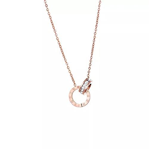 YQMJLF Collar Moda Accesorios Collares Mujer Collar con Colgante de Anillo de Cristal de Oro Rosa para Mujer, joyería, Collar de Acero de Titanio, Gargantilla de diseño de Lujo, Moda