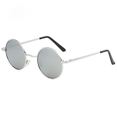 Amethyst Gafas de Sol polarizadas, Redondas, clásicas, Ligeras, de Estilo Vintage para IR de Compras, Conducir, Pescar y Otras Actividades al Aire Libre para Mujeres y Hombres,Gris