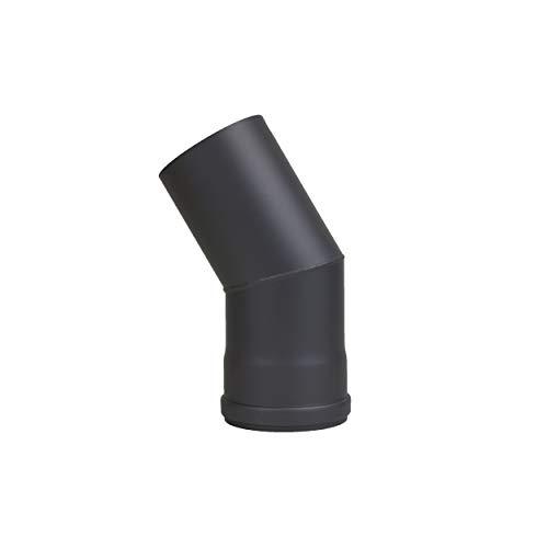 LANZZZAS Pellet pellet rookpijp pelletkachel pijp 30° boog eenmaal gebogen zonder reiniging Kleur zwart Ø 100 mm
