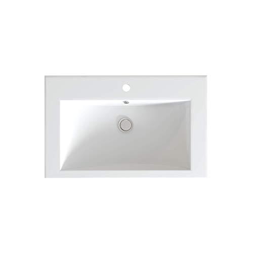 Saneco - Erica - 745 x 475 - Saneco - Lavabo da bagno con troppopieno e kit idraulico, lucido, bianco neve - BS-V014D1