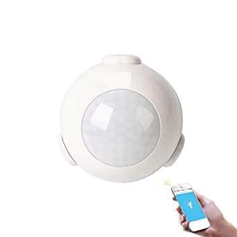Yueyang Sistema de alarma para el hogar con sensor de movimiento PIR WiFi, mini sensor PIR IOS y Android compatible con TUYA/Smart Life App…