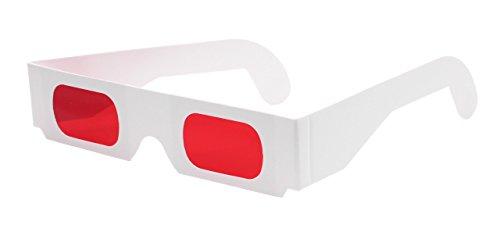 3d-brillen.de Decoderbrille rot/rot (10 Stück) - Hochwertige Farbfilterbrillen aus Papier mit roten Folien | Ideal, um versteckte Botschaften sichtbar