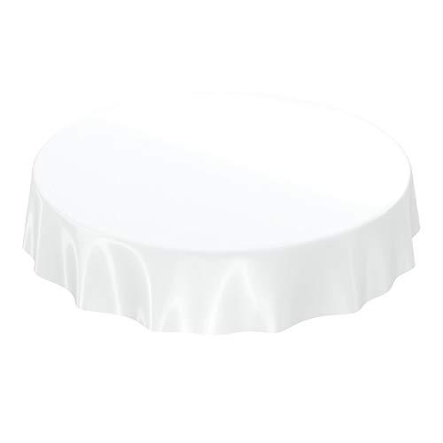ANRO Wachstuchtischdecke Wachstuch abwaschbare Tischdecke Uni Glanz Einfarbig Weiß Rund 120cm