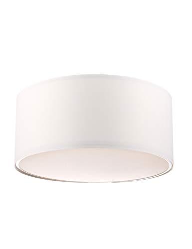 Modernluci Deckenleuchte | LED Deckenlampe 8W Warmweiss für das Wohnzimmer, Schlafzimmer Lampe, Deckenlampe mit Textilschirm 40cm ø, Höhe:18 cm lampenschirm weiß MEHRWEG