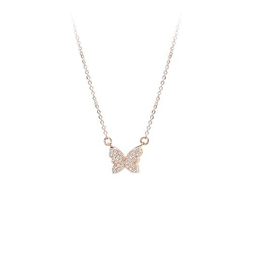 YQMJLF Collar Moda Accesorios Collares Mujer Pequeño Collar de Mariposa de Moda, Colgante de Diamantes de imitación Completo de Moda, joyería de Cadena de clavícula para Dama Dulce