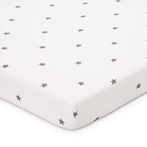 FabiMax Bio-Jersey Spannbettlaken für Beistellbett und Wiege, 90 x 55 cm, weiß / graue Sternchen