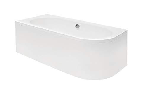 ECOLAM Badewanne Wanne Eckwanne Eckbadewanne für Zwei Modern Design Acryl weiß Avita 180x80 cm LINKS + Schürze Ablaufgarnitur Ab- und Überlauf Automatik Füße Silikon Komplett-Set