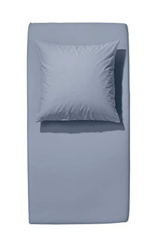 hessnatur Renforcé-Spannbetttuch aus Reiner Bio-Baumwolle graublau 140-160x200 cm