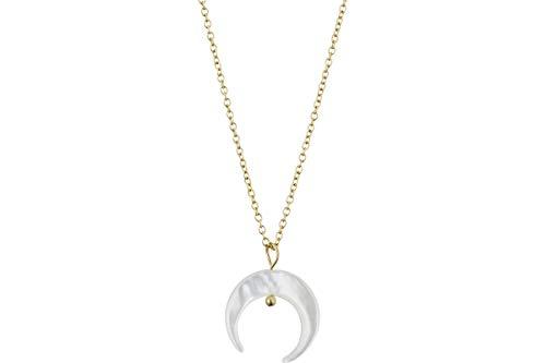 IKITA Ciondolo + catena girocollo luna in acciaio, metallizzazione oro, madreperla