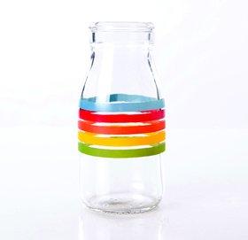 Juego de 3 falsos de cristal tradicionales con diseño de rayas arcoíris.