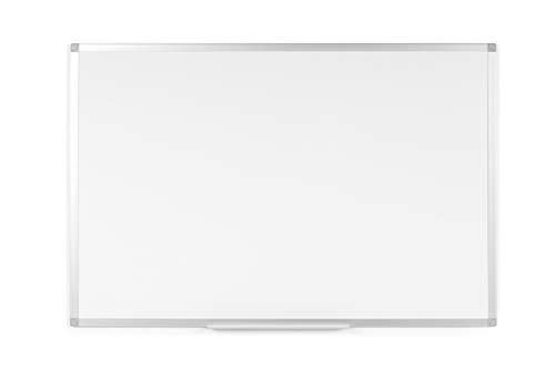 BoardsPlus - Pizarra blanca con marco de aluminio y bandeja, 120 x 90 cm (no magnética)