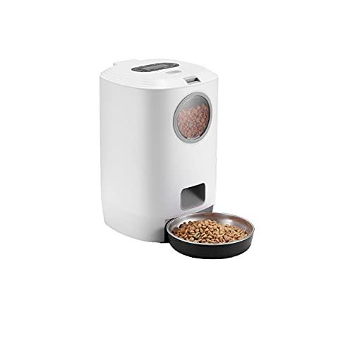 Foern 4 Porciones Comedero Automatico Gatos Dispensador De Comida Doble Fuente de AlimentaciónPara Perros Inteligente para Mascotas GatosPerros(No Incluye Pilas)