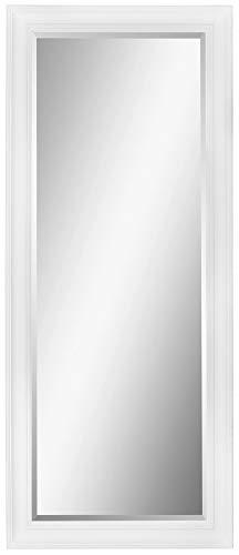 Scan-Trader Inspire Speigel Garderobenspiegel Moderner Vintage Wandspiegel Flurspiegel mit Weiß Holz Dekorativer Landhaus-Stil Rahmen für Flur, Garderobe, Wohnzimmer, 154x64x3,5 cm