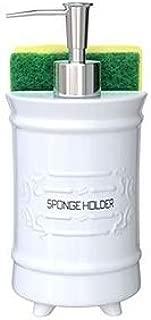 Comfify French Design Kitchen Soap Dispenser & Sponge Holder - Vanity Sink Organizer - 12.6oz Shabby Chic Liquid Soap Dispenser with Premium Pump Ceramic Soap Holder w/Free Sponge