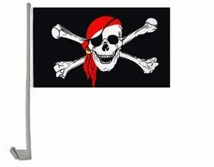 Everflag Auto-Fahne: Pirat mit rotem Kopftuch