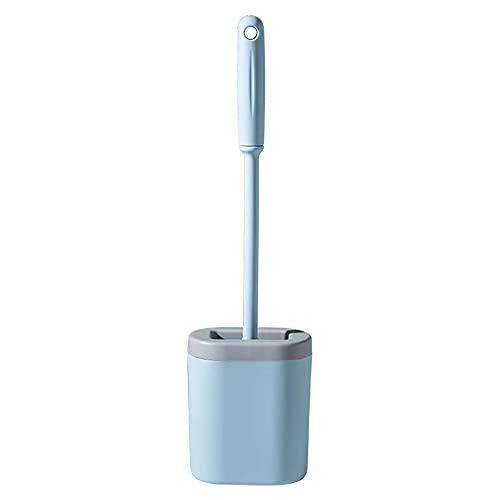 Scopino WC e supporto in silicone, spazzola da bagno in silicone, con supporto ad asciugatura rapida, spazzola da bagno a parete, per bagno e toilette (blu)