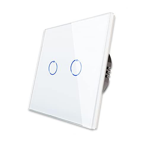 CNBINGO Interruptor doble de luz blanco, interruptor táctil, con panel táctil de cristal y LED de estado, no se necesita conductor neutro, 2 interruptores de 1 polo, AC 240 V, 500 W/compartimento
