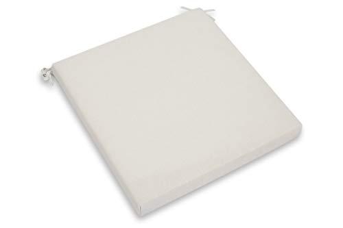 CHILLVERT KAN180 - Cojin para Silla Javea Cuadrado, 38x38x6 cm, Blanco Crudo Desenfundable