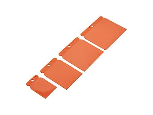 Mivos Juego de espátulas japonesas, 4 piezas, de plástico japonés, para carrocería, flexible y resistente a ácidos, 50, 70, 95, 115 mm