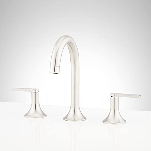 Signature Hardware 951346 Lentz 1.2 GPM Widespread Bathroom Faucet with Lever Handles and Pop-Up Drain Assembly with Overflow