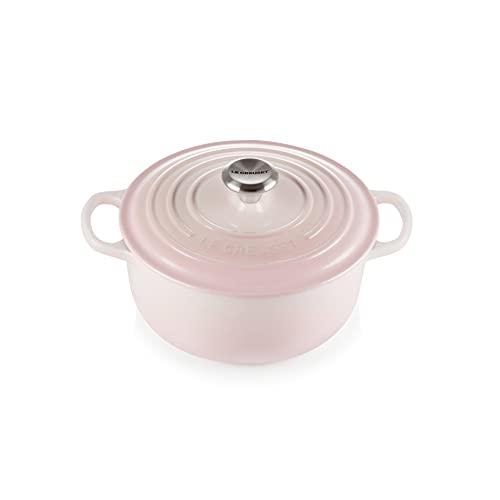 Le Creuset Evolution Cocotte de hierro fundido con tapa, Redonda, Pomo de acero inoxidable, ⌀ 20 cm, 2,4 L, Rosa Shell Pink,21177207774430