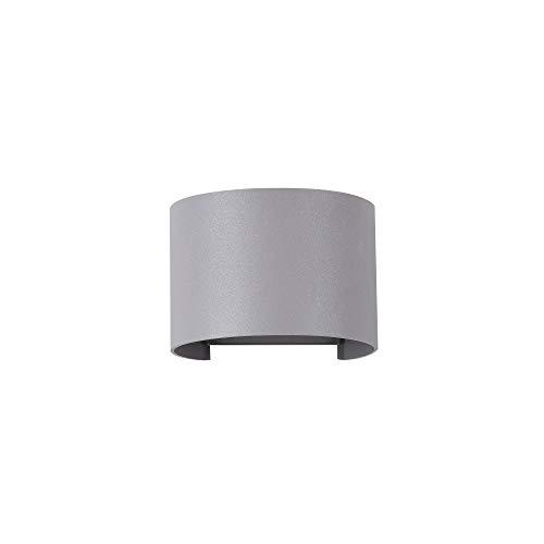 Applique murale exterieur LED, style moderne, armature en aluminium couleur gris, plafonnier en demie-cercle en aluminium couleur gris, 2 ampoules 3 W IP54 400lm 3000k 230V