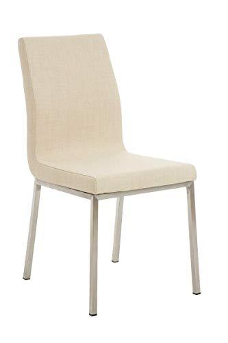 GXK Esszimmerstuhl Stoff Lehnstuhl Polsterstuhl Küchenstuhl Edelstahl Stuhl (Color : Creme)