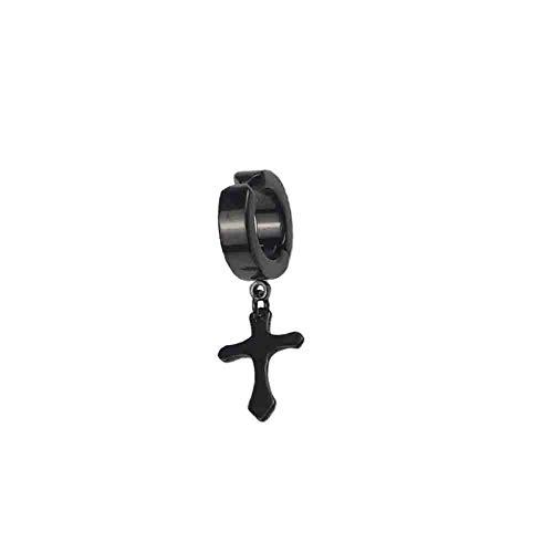 #N/V Pendientes falsos con diseño de cruz de metal duradero para oreja, sin perforación.