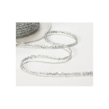 Shiny Silver lurex Christmas ribbon 3mm x 50 Metre roll Free UK Post