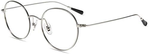 Firmoo Blaulichtfilter Brille Entspiegelt ohne Sehstärke Damen Herren, Runde Metall Computerbrille Anti Blaulicht Kopfschmerzen, UV Blaufilter Schutzbrille für Bildschirme (49-20-141, Schwarz-Silber)