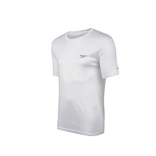 Speedo Interlock Camiseta de Manga Curta, Homens, Branco, M
